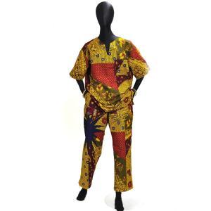 ○シャツとズボンの上下セット Mサイズ(アフリカンファッション) afromode