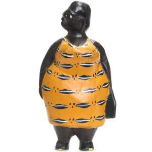 ●おばさん コロン人形 16cm(アフリカ インテリア 彫刻)|afromode
