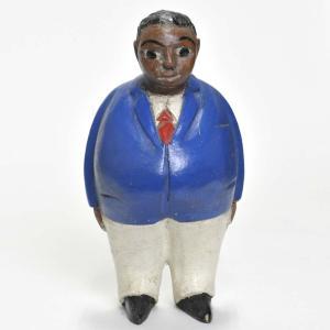 ●アフリカンムッシュー コロン人形 15cm(アフリカ インテリア 彫刻)|afromode