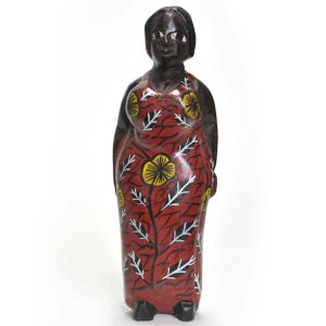 ●アフリカンマダム コロン人形 17cm(アフリカ インテリア 彫刻)|afromode