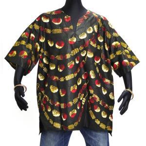 ≪アフロX'mas SALE 20%OFF≫○アフリカン スキッパーシャツ Lサイズ|afromode