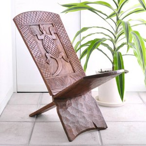 《アフロ家具フェア対象》◎バウレ族2枚板椅子(アフリカの家具、スツール,椅子)|afromode