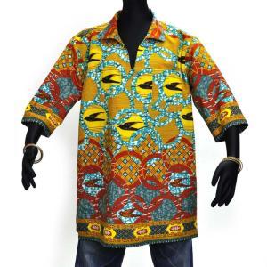 ≪23周年23%OFF!4/28まで≫○アフリカン スキッパー襟付シャツ XXLサイズ(178〜188cm) afromode
