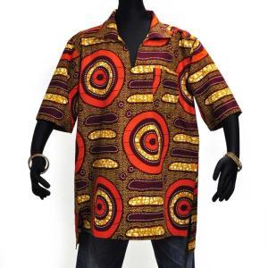 ○アフリカン スキッパー襟付シャツ XXLサイズ(178〜188cm)|afromode