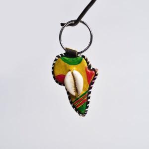 ○革製貝キーホルダー(アフリカ)|afromode
