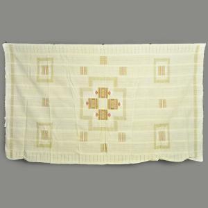 ◎テーブルクロス 手織り 布 刺繍付 小マット12枚付≪マルチカバー 綿100% 生地 アフリカ インテリア ファブリック≫|afromode