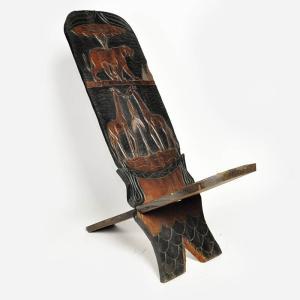 ◎マリンケ族2枚板大型腰掛(椅子 スツール アフリカ インテリア 家具)|afromode