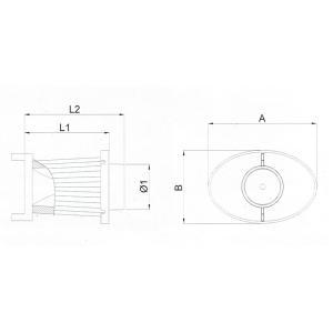 BMC OTA (オーバル・トランペット・エアボックス) 交換用フィルター A:197 B:132 L1:184 L2:211 Φ1:82 (mm) ACOTARI-230|afterparts-co-jp