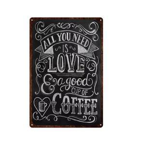 ALL YOU NEES IS LOVE & a good cup of COFFEE ガレージ エクステリア インテリア 壁飾り カフェ 看板 BAR バー アンティーク調 サインボード 30×20cm afterparts-co-jp