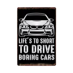 LIFE'S TO SHORT TO DRIVE BORING CARS メタルデザイン メタルプレート ワークショップやガレージ看板 サインボード 30×20cm afterparts-co-jp
