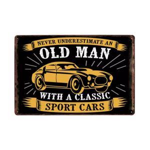 OLD MAN WITH A CLASSIC SPORT CARS(横) メタルデザイン メタルプレート ワークショップやガレージ看板 サインボード 30×20cm afterparts-co-jp
