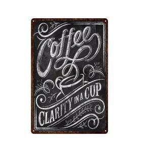 COFFEE clarity in a cup ガレージ エクステリア インテリア 壁飾り カフェ 看板 BAR バー アンティーク調 サインボード 30×20cm afterparts-co-jp