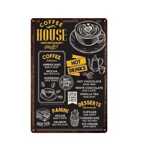 COFFEE HOUSE ガレージ エクステリア インテリア 壁飾り カフェ 看板 BAR バー アンティーク調 サインボード 30×20cm afterparts-co-jp