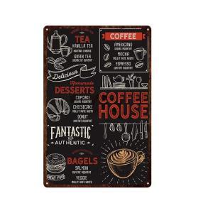 COFFEE HOUSE FANTASTIC AND AUTHENTIC ガレージ エクステリア インテリア 壁飾り カフェ 看板 BAR バー アンティーク調 サインボード 30×20cm afterparts-co-jp