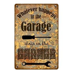 Whatever happens in the Garage ヴィンテージ デザイン メタルプレート ワークショップやガレージ看板 サインボード 40×30cm afterparts-co-jp