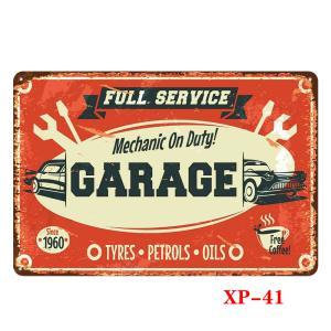 FULL SERVICE GARAGE Mecanic On Duty! ヴィンテージ デザイン ティンシックサイン メタルプレート ワークショップやガレージ看板 サインボード 30×20cm afterparts-co-jp