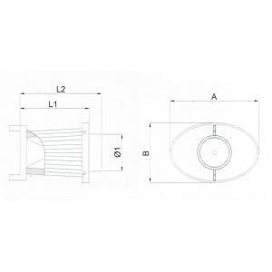BMC OTA (オーバル・トランペット・エアボックス) 交換用フィルター A:197 B:132 L1:154 L2:181 Φ1:82 (mm) ACOTARI-200 afterparts-jp
