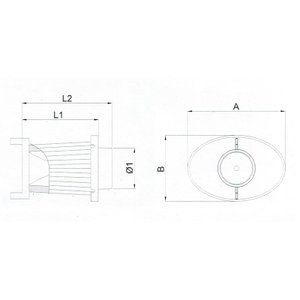 BMC OTA (オーバル・トランペット・エアボックス) 交換用フィルター A:197 B:132 L1:184 L2:211 Φ1:82 (mm) ACOTARI-230 afterparts-jp