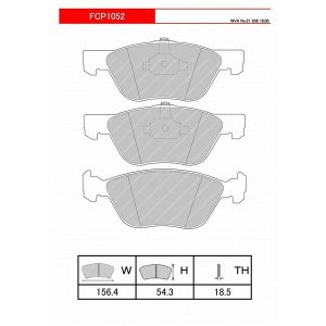 FERODO ブレーキパッド DS2500 フィアット プント (188系) 1.8 16V HGTアバルト 03〜06 188A1 188A6 - フロント FCP1052H|afterparts-jp