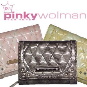 Pinky Wolman 【ピンキーウォルマン】新作レディス三折財布★高級感漂うエナメル&ラインストーン入り♪|again