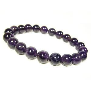 宝石アメジスト≪紫水晶≫天然石 パワーストーンブレスレット10mm/1点もの|again