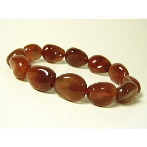 赤水晶(レッドクォーツ)/パワーストーン/天然石ブレスレット/12mm/ツイストオーバルカット/1点もの|again