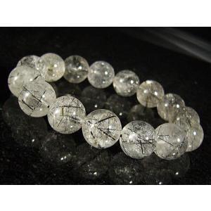 クリアブラックルチル(黒針水晶)天然石ブレスレット14mm≪1点もの≫ again