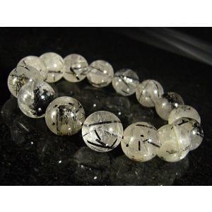 ★完売御礼★クリアブラックルチル(黒針水晶)天然石ブレスレット14mm≪1点もの≫ again