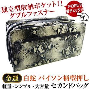 独立型収納ポケット ダブルファスナー!!セカンドバッグ/パイソン柄型押し/メンズ レディース バッグ 男女兼用|again