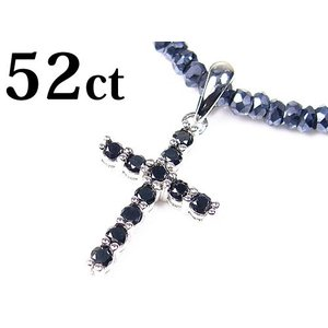 52ctブラックダイヤモンドクロス/グレースピネル/コラボ/宝石ネックレス|again