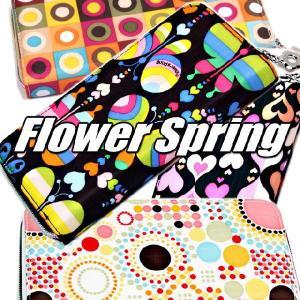 FlowerSpringレディスカラフル財布♪使いやすいラウンドファスナー|again