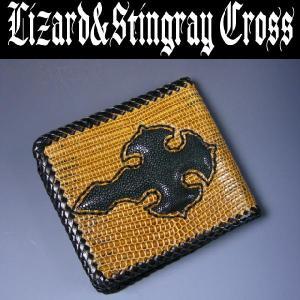 ≪リザード&スティングレイ≫天然皮革クロス二つ折ウォレット=財布=|again