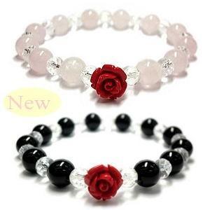 10,800円→598円/幸せの赤い薔薇の花(彫刻)天然石パワーストーンブレスレット|again