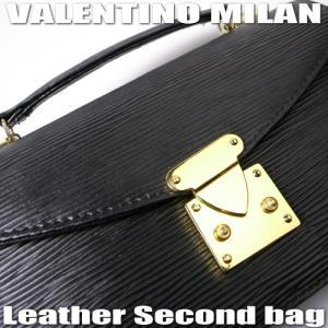 VALENTINO MILANバレンチノ・ミラン【エピ柄】牛皮セカンドバッグ★円高還元|again