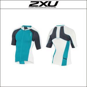 2XU【ツータイムズユー】Men's コンプレッション スリーブドトライトップ(MT3615a)ホワイト/ブルーXS|agbicycle