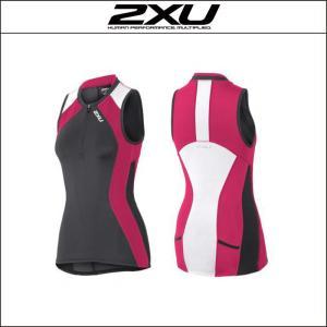 2XU【ツータイムズユー】women's コンプレッション トライシングレット(WT3620a)Mサイズ・グレー/コーラルピンク(INK/CHP)|agbicycle