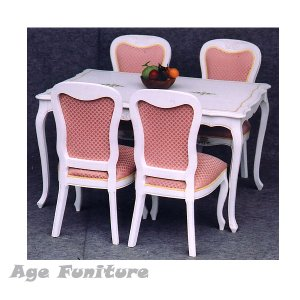 Como白家具 クラック塗装 ダイニング5点セット !ホワイト輸入家具【送料無料】 新生活|age