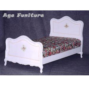 Como白家具 クラック塗装 シングルベッド(マッド別) !ホワイト輸入家具【送料無料】|age