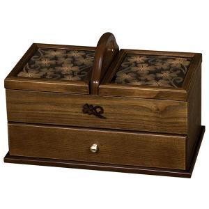 送料無料 ソーイングボックス ( 裁縫箱 引出し付き ブラウン クローバー ) G-1239B 新生活|age