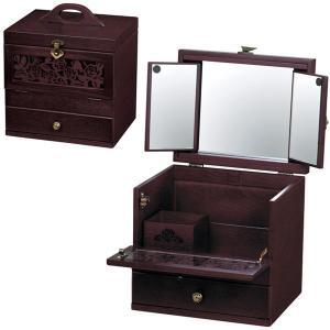 送料無料  コスメティックボックス ( 三面鏡  メイクボックス コスメボックス 化粧箱 小物入れ 引出し付き アンティーク ) G-1358R|age