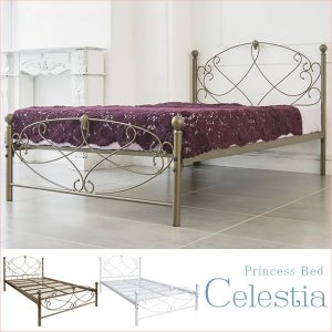 送料無料 アンティーク ベッド セミダブルベッド Celestia(セレスティア) ベッドフレームのみ ( BSK-906SD お姫様 姫系 プリンセス セミダブル )|age