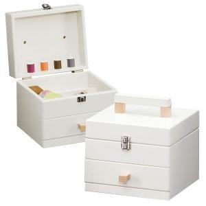 送料無料 ホワイト 木製 ソーイングBOX キューブ ( ソーイングボックス 裁縫箱 引出し付き ) H4365 新生活|age