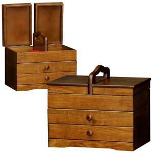 日本製 送料無料 木製 和風 ソーイングBOX あおい ( ソーイングボックス 裁縫箱 引出し付き けやき色 ) H4370 新生活|age