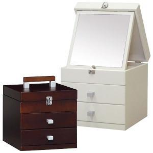 送料無料 ホワイト ブラウン メーキャップBOX キューブ25 ( メイクボックス コスメボックス 化粧箱 小物入れ シンプル ) M2319|age