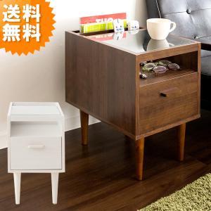 欠品中 サイドテーブル おしゃれ 幅30 ガラストップ ST-300 ガラステーブル ナイトテーブル 新生活 ブラウン 木目 木製 送料無料|age