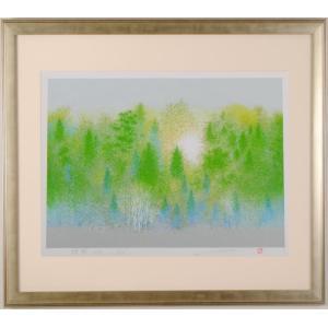 ●画家名:池上壮豊  ●作品名:緑陽-G  ●絵のサイズ:W47,5×H34cm  ●額装サイズ:W...