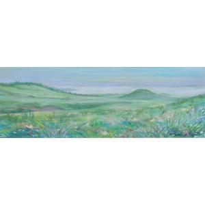 ●画家名:石井清 ●作品名:米塚と草原 ●絵のサイズ:W71×H24cm ●額装サイズ:W98×H4...