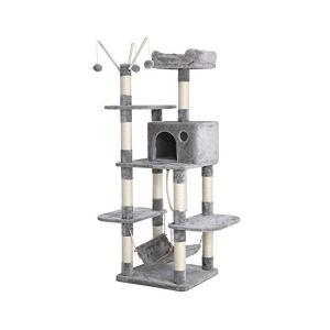 SONGMICS キャットタワー 猫タワー 支柱4本 安定性抜群 幅広い台座 くつろげる空間を確保 ...