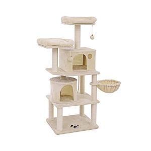 SONGMICS キャットタワー 全面麻紐 思う存分爪とぎ 多頭飼い 2つ猫ハウス 猫タワー 高品質...