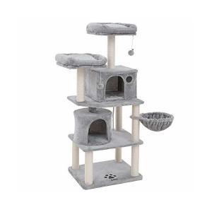 SONGMICS キャットタワー 全面麻紐 2つ猫ハウス 多頭飼い 猫タワー 転倒防止 安定性抜群 ...